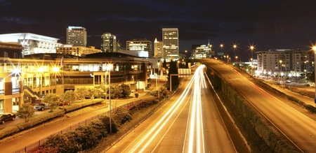 tacoma: Tacoma downtown at night with highway, court house and busines center