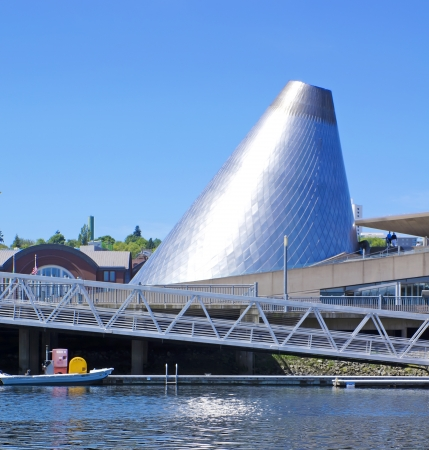 Tacoma downtown marina with Glass Museum dome. Stock Photo - 17202407