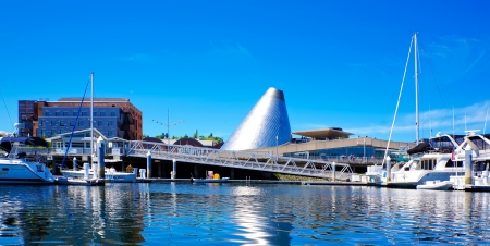 tacoma: Tacoma downtown marina with Glass Museum, boats and bridge. Editorial