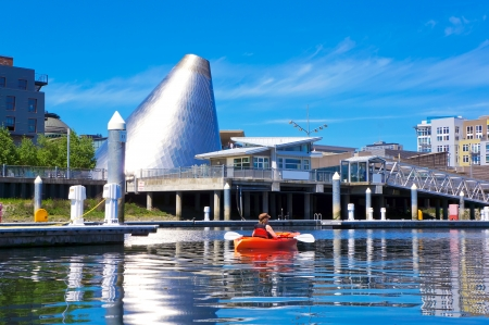 tacoma: Tacoma downtown marina with Glass Museum Dome and kayaker.