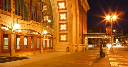 Historical American piblic architecture Tacoma courthouse historical building at night.