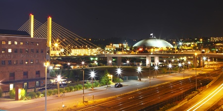 tacoma: Tacoma downtown at night with Dome and bridge and highway 705  Cable-stayed bridge over Tacoma