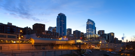 Seattle downtown and Pike Public Market at early morning before sunrise. photo
