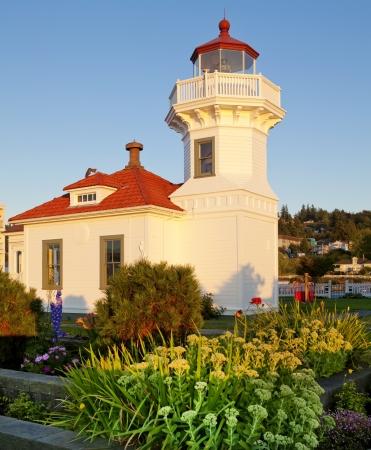 juan: Mukilteo white lighthouse building during sunset. Washington State.