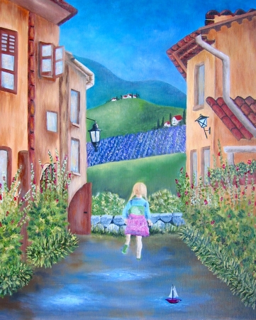Italian street with little girl running oil painting