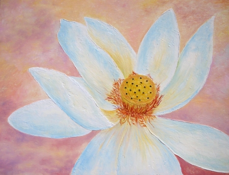 Lotus flower painting in peach and white  photo