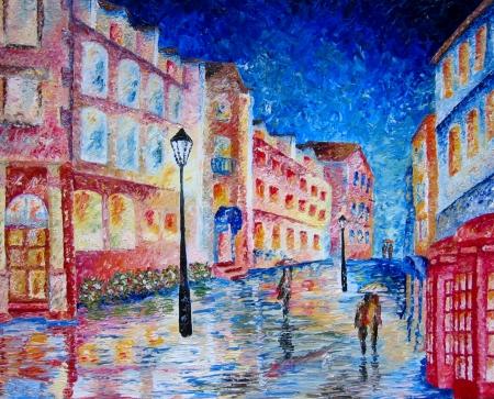 London street oil painting in heavy oils. Stockfoto