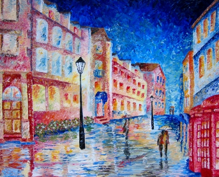 paintings: London street oil painting in heavy oils. Stock Photo