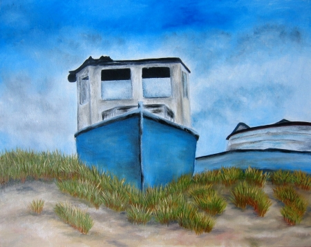 Blue boat painting art with the beach and sand. Art. Stock Photo