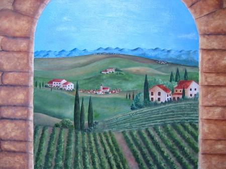 Schilderij van Italië met dorpen en poorten. Stockfoto