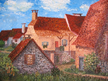 Oil painting ofrustic houses in French village. photo