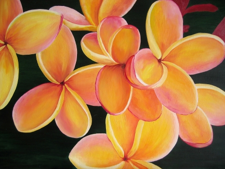 Orange prumeria flower. Oil painting on canvas.