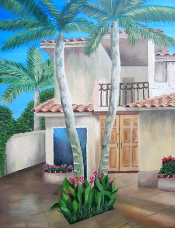 Florida house courtyard painting. OIl on canvas. photo