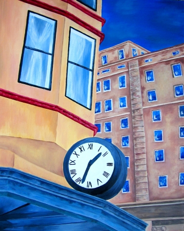 Original oil painting of city building with large clock  Day time  Modern Tacoma, downtown  Historical building with clock