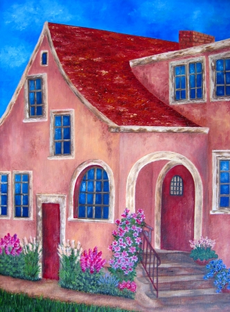 Painting of red house. Oil on canvas.