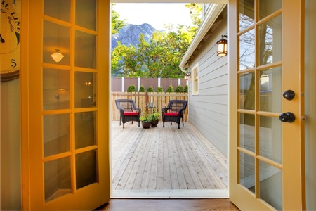 french doors: Very well remodeled home with small back yard