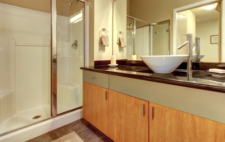 Bathroom with wood modern cabinets, glass shower and white sink. Stock Photo