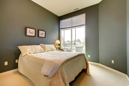 Bedroom wiht grey green walls and white bedding Stock Photo - 17647088