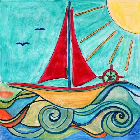 pintura infantil: Dos pinturas de barco beb� en el mar con el ideal de sol para ni�os decoraci�n de la habitaci�n