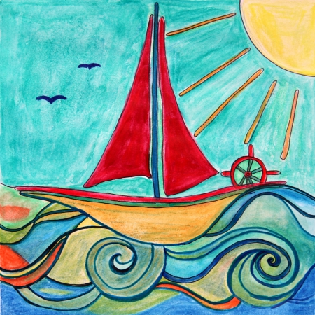 for kids: Two paintings of baby boy ship in the sea with sun   Ideal for Kids room decor