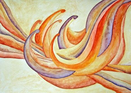 Orange soft day lily flower  Painting  Watercolor