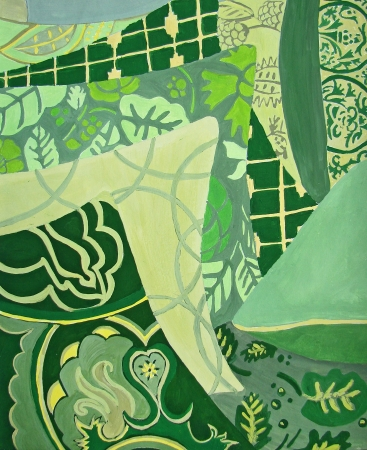 cushions:                                Green pillows abstract design - original hand painting  Geometrical patterns  Stock Photo