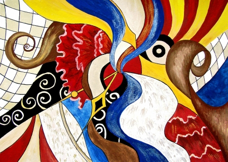 Original hand drawing of Spanish abstract  WIth spanish flag and national colors