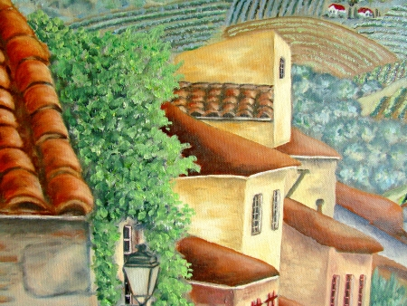 Original oil painting of european village close up of the buildings photo