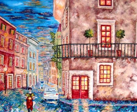 verona:  NIght city Verona, Italy  Painting  Oil on canvas  Stock Photo