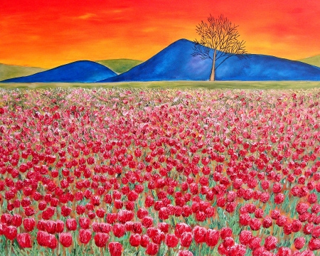 sunset painting:                                Original painting of tulip field with red flowers, mountains and tree  Sunset  Washington State  Stock Photo