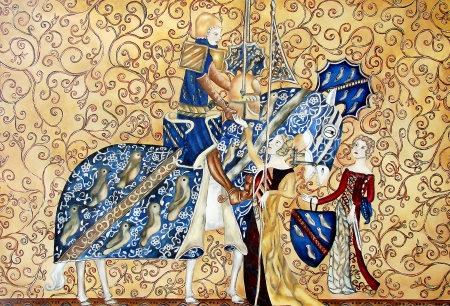 Medival painting with king and queen  Tapestry                             photo
