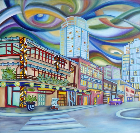 Oil painting of Seattle downtown  Modern city