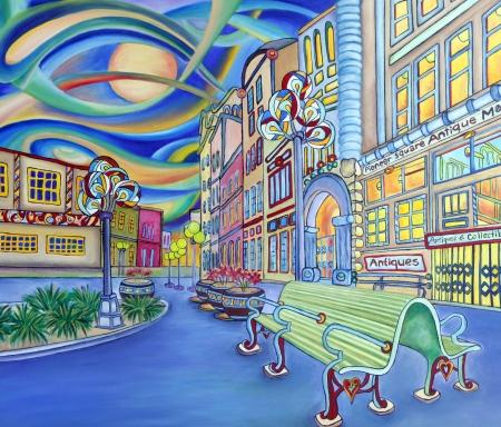 シアトルのダウンタウンの近代的な都市のカラフルなオリジナル デザインの油絵