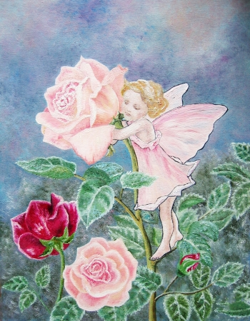 Oil painting of the flower fairy  Rose fairy with pink rose in the pink dress  baby girl room decor  Stock Photo