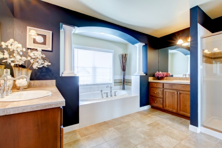 Blue luxury bathroom interior with white tub, sink and shower. photo