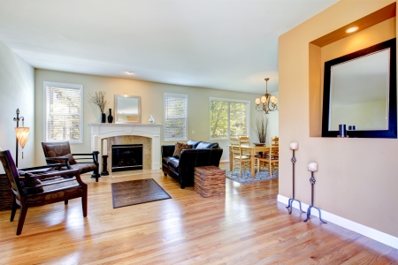 Living room inteior of natural style with fireplace and hardwood floor.