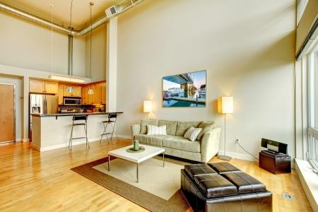 твердая древесина: Современная мансарда гостиная интерьер с кухней и высоким потолком Фото со стока