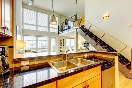 나무 주방과 계단이있는 로프트 현대 밝은 아파트