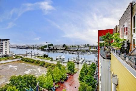 tacoma: View from the balcony of modern building with marina  Tacoma  Stock Photo