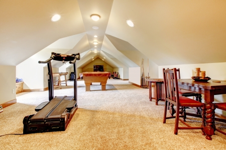 attic: Large long attic game room with tv, pool and sport equipment.