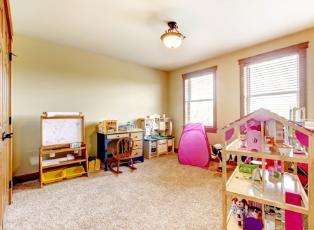 children at play: Kids play room with toys. Interior. Stock Photo