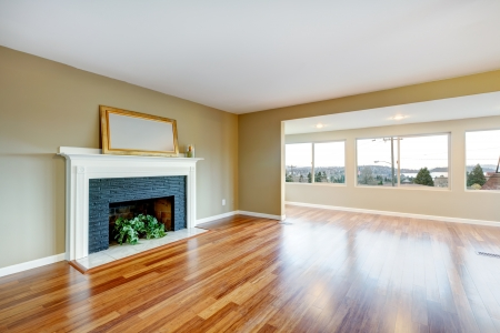 Living Room In A New Empty House With Fireplace, Hardwood Floor