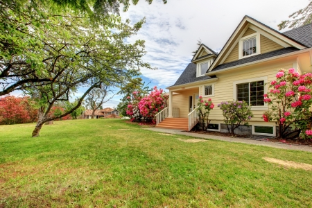 Yellow house exterior with spring blooming rhododendron Stock Photo - 17869772