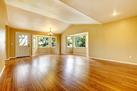 vaulted door: Large empty newly remodeled living room with wood floor.