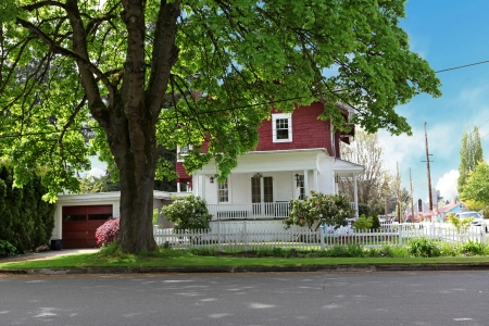 Classic large craftsman old American house exter in red and white during spring. Stock Photo - 18174477