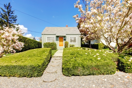 Small green house exterior with spring blooming magnolia trees. American house build in 1942. Stock Photo - 18174484