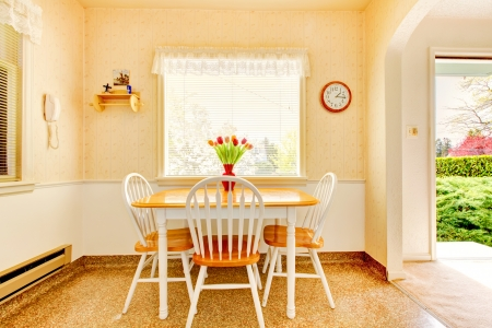 kitchen counter top: White old small kitchen interior in American house build in 1942