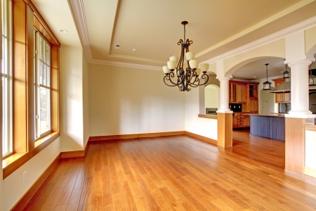 Large luxury dining room interior with kitchen and arch. New empty home.