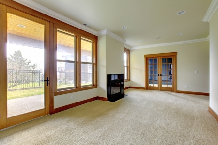 Carpet floor: Empty large room with fireplace. New luxury home interior.
