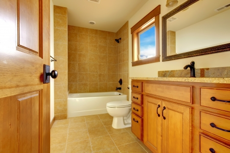 New modern beautiful bathroom in  luxury home interior. photo